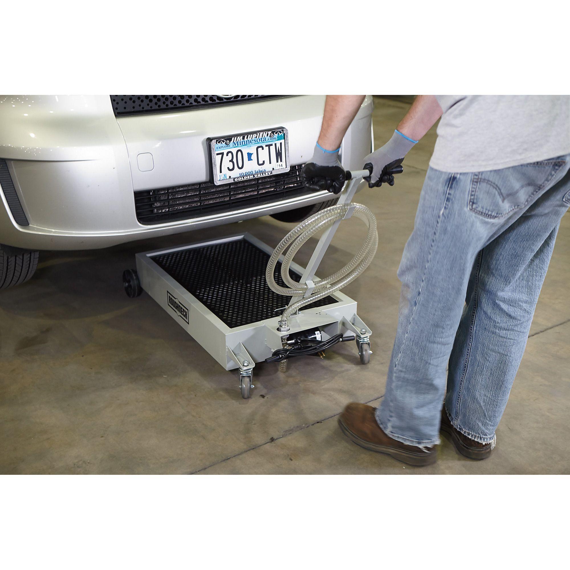 Roughneck Low Profile Oil Drain 15 Gallon 110 Volt 2 5 Gpm Pump Steel Automotive Repair Lifted Cars Roughneck