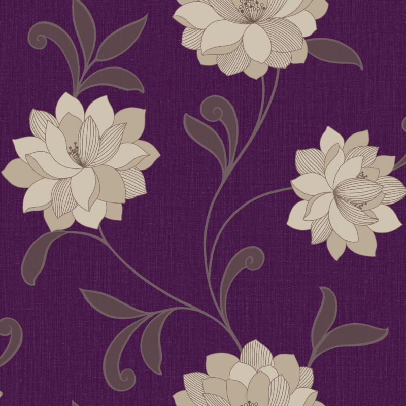 Arthouse vintage valencia purple wallpaper diy home for Purple feature wallpaper living room