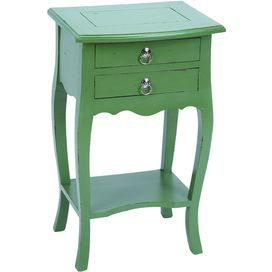 """Mead end table - $81.95 2-Drawer wood end table in green with cabriole legs and an open bottom shelf.   Product: End tableConstruction Material: WoodColor: GreenFeatures:  Rustic charm and curved legsTwo drawers and one shelf Dimensions: 27"""" H x 16"""" W x 13"""" D"""