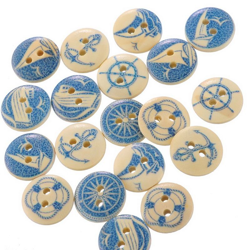 50pcs 15mm Natural Tree of Life Design Buttons Wooden Buttons for DIY Craft
