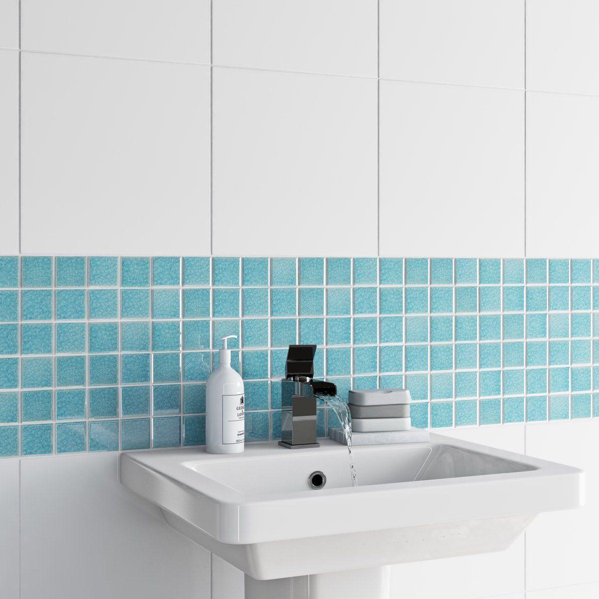 Mosaic iridescent sea tile 305mm x 305mm - 1 sheet | Bathroom ...
