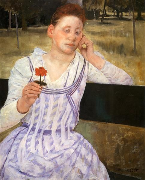 [] Woman With A Red Zinnia | by Mary Cassatt | Collection: National Gallery of Art, Washington, D.C.
