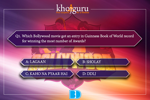 "Here comes the first question of ""Bollywood Quiz Content"