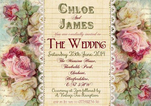 Personalised Shabby Chic Vintage Tea Party Wedding Invitations Packs
