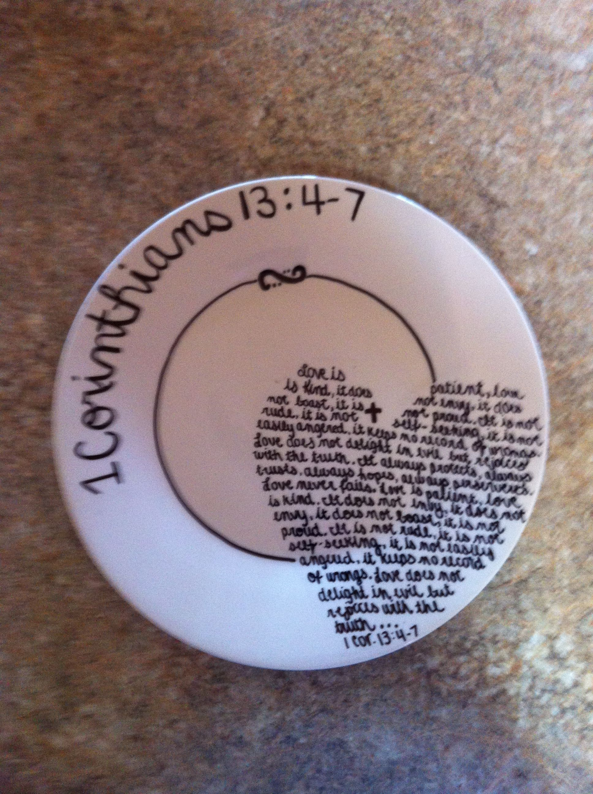 #scripture #something #sharpie #design #plates #plate #maybe #could #them #with #this #take #they #can #andDIY sharpie plate!  Maybe not this design or scripture, but we could put something on the plates and it can be something they take with them :) #sharpieplates