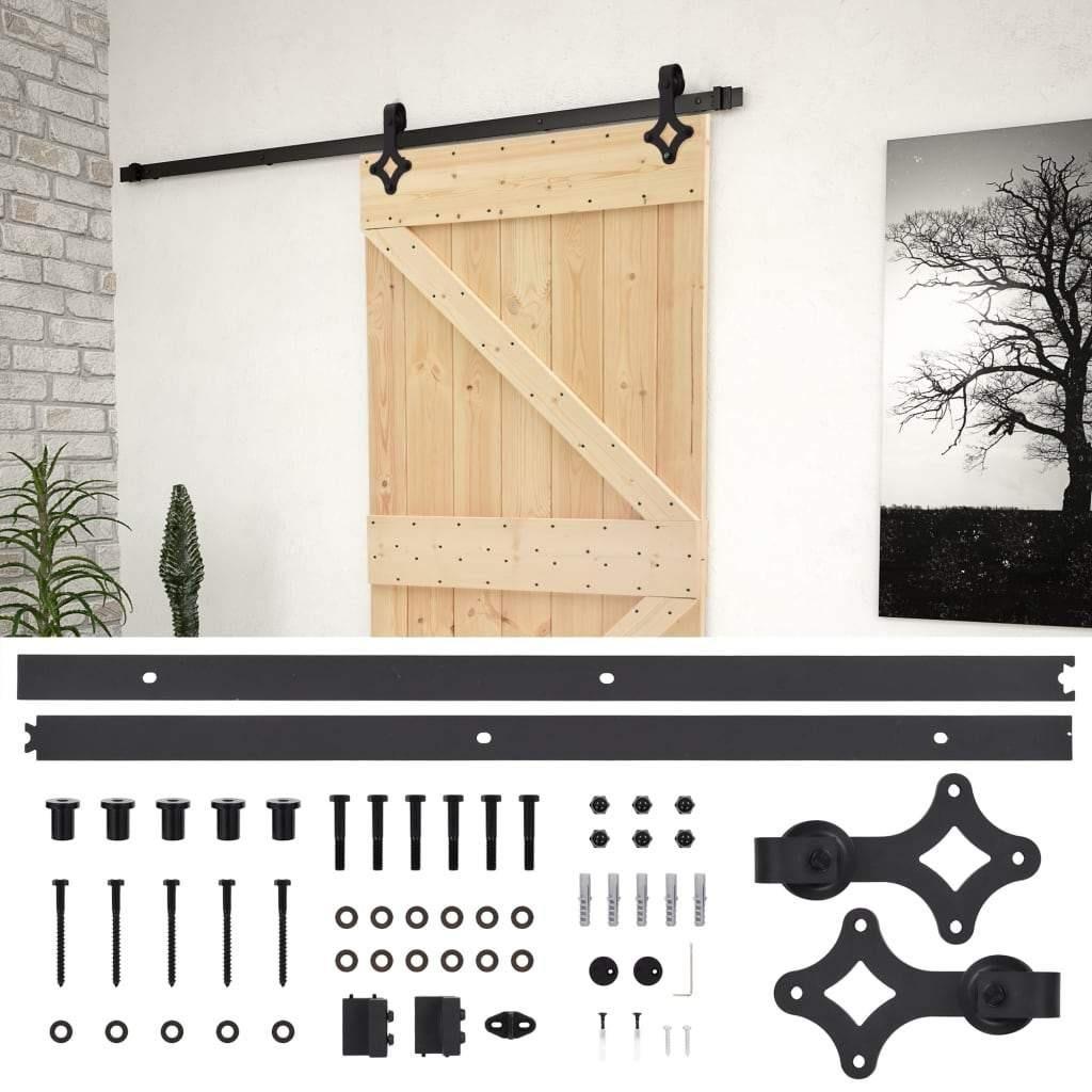 Sliding Door with Hardware Set 80×210 cm Solid Pine Wood