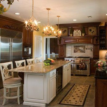 Refaced Kitchen. Cherry Cabinets With Winter White Island. Granite  Countertops. | Yelp