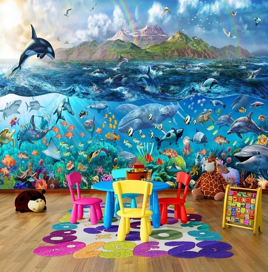 Tropical Sea Life Ocean Fishes Photo Wallpaper Wall Mural For Kids