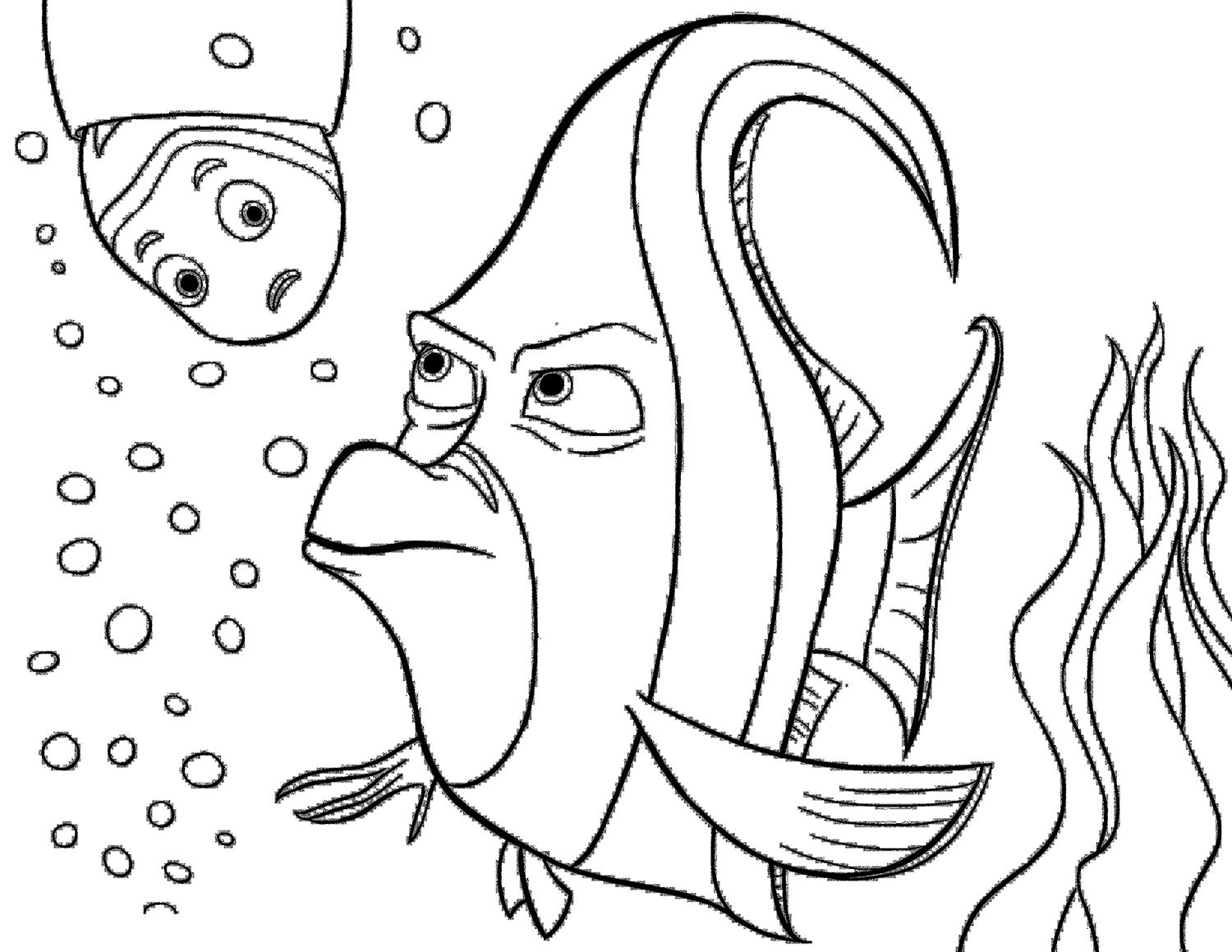 Finding Nemo Gill Angry Nemo coloring pages, Finding