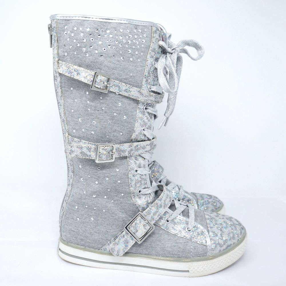 Justice Girls High Top Boots Gray Glitter Size 8 Justice Boots Glitter Sneakers High Top Boots Black High Tops