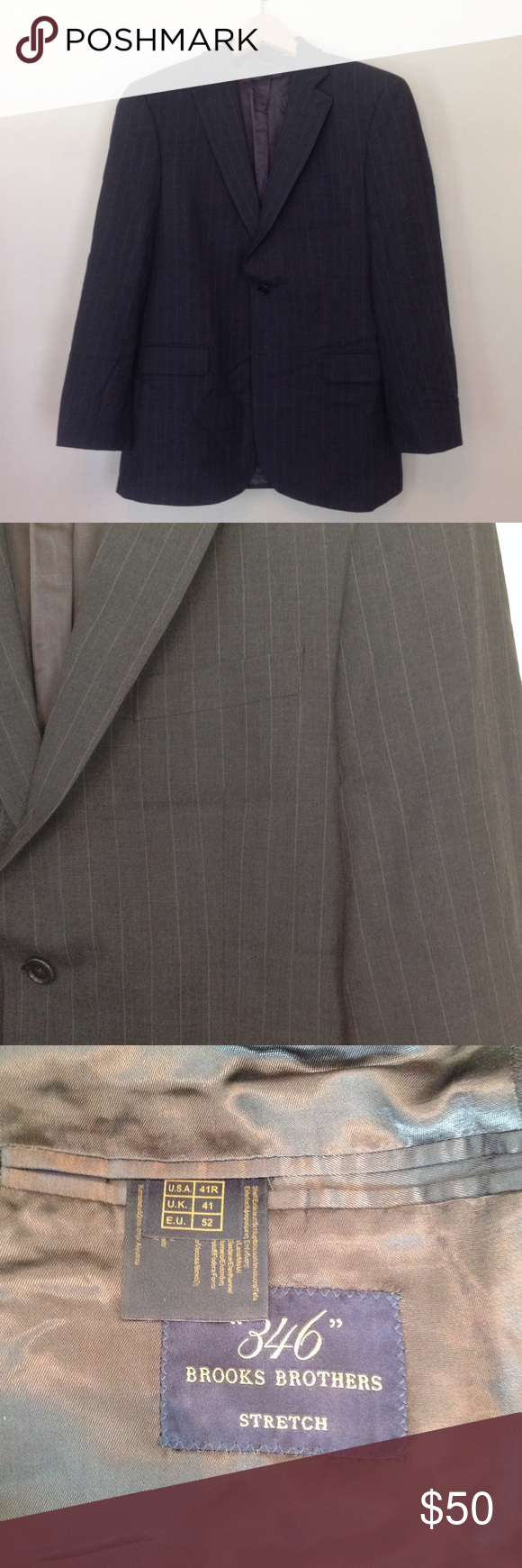 Brooks Brother suit Grey pinstriped Brooks Brothers suit. 41 R 2 button jacket. Pants are 36/31 with flat front. It is Brooks Brothers 346 stretch collection. Brooks Brothers Suits & Blazers Suits