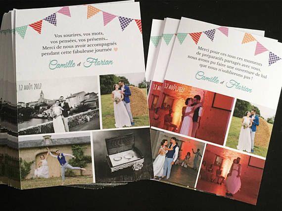 Carte remerciement mariage, papeterie faire-part, guinguette fanions, champêtre, vintage