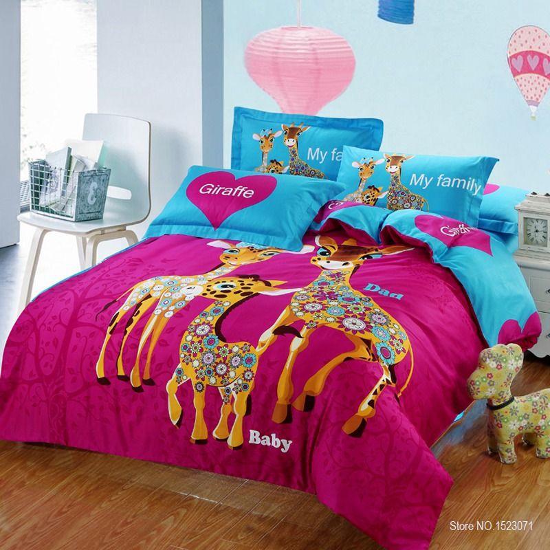 100% cotton 4pcs adult/kids cartoon print giraffe bedding set with