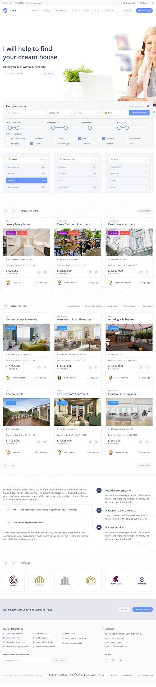 area real estate agency and realtor sketch template agency