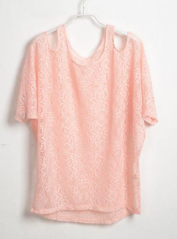 Pink Hollow Crochet Flower Exposed Shoulder T-shirt