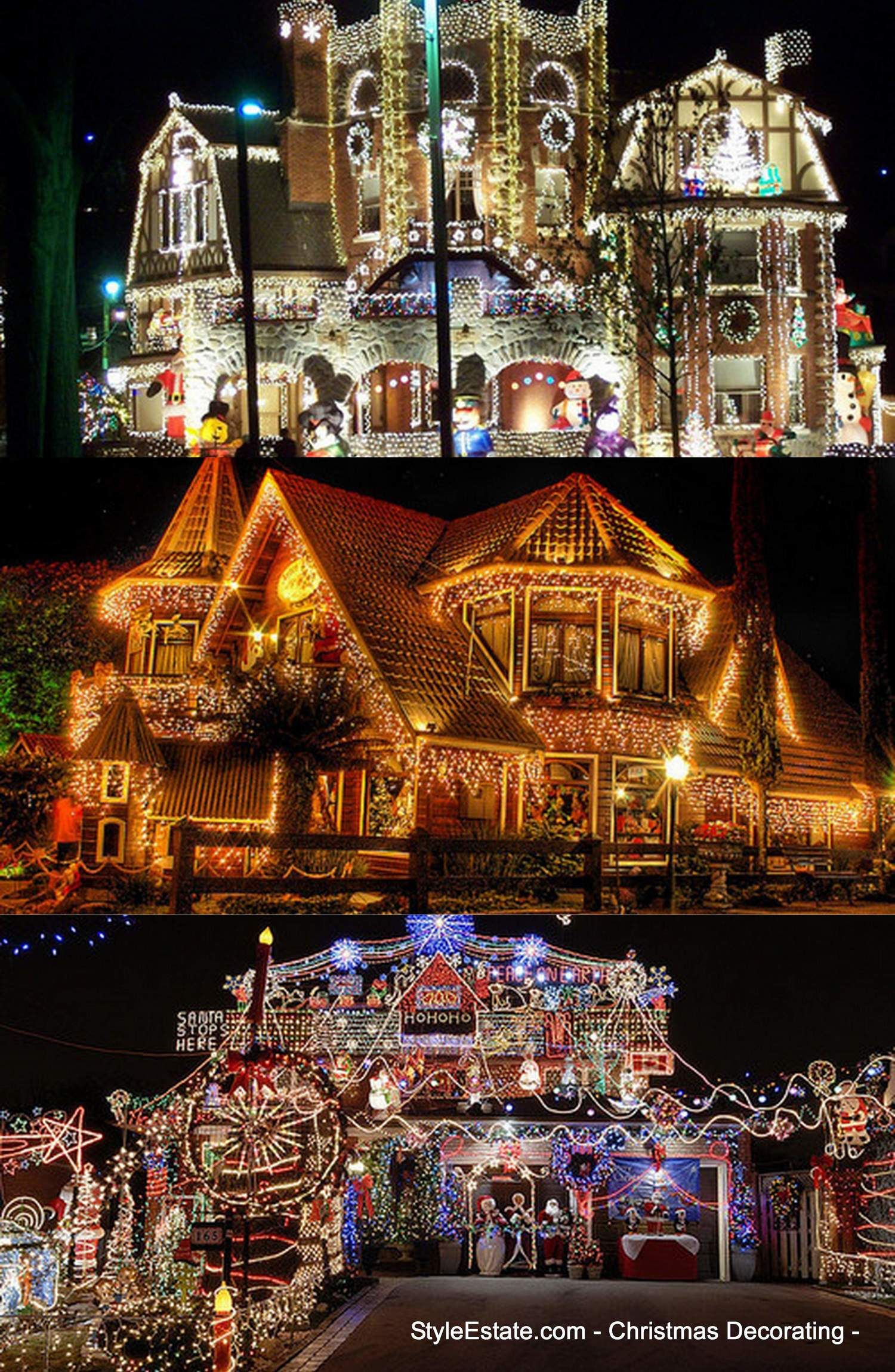 pictures of homes decorated for christmas outside