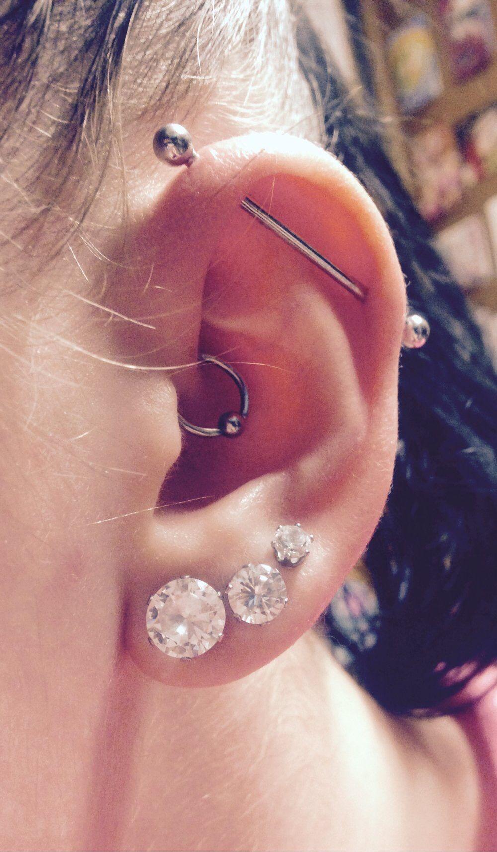 Triple Lobe Daith And Industrial Piercings Earings Piercings