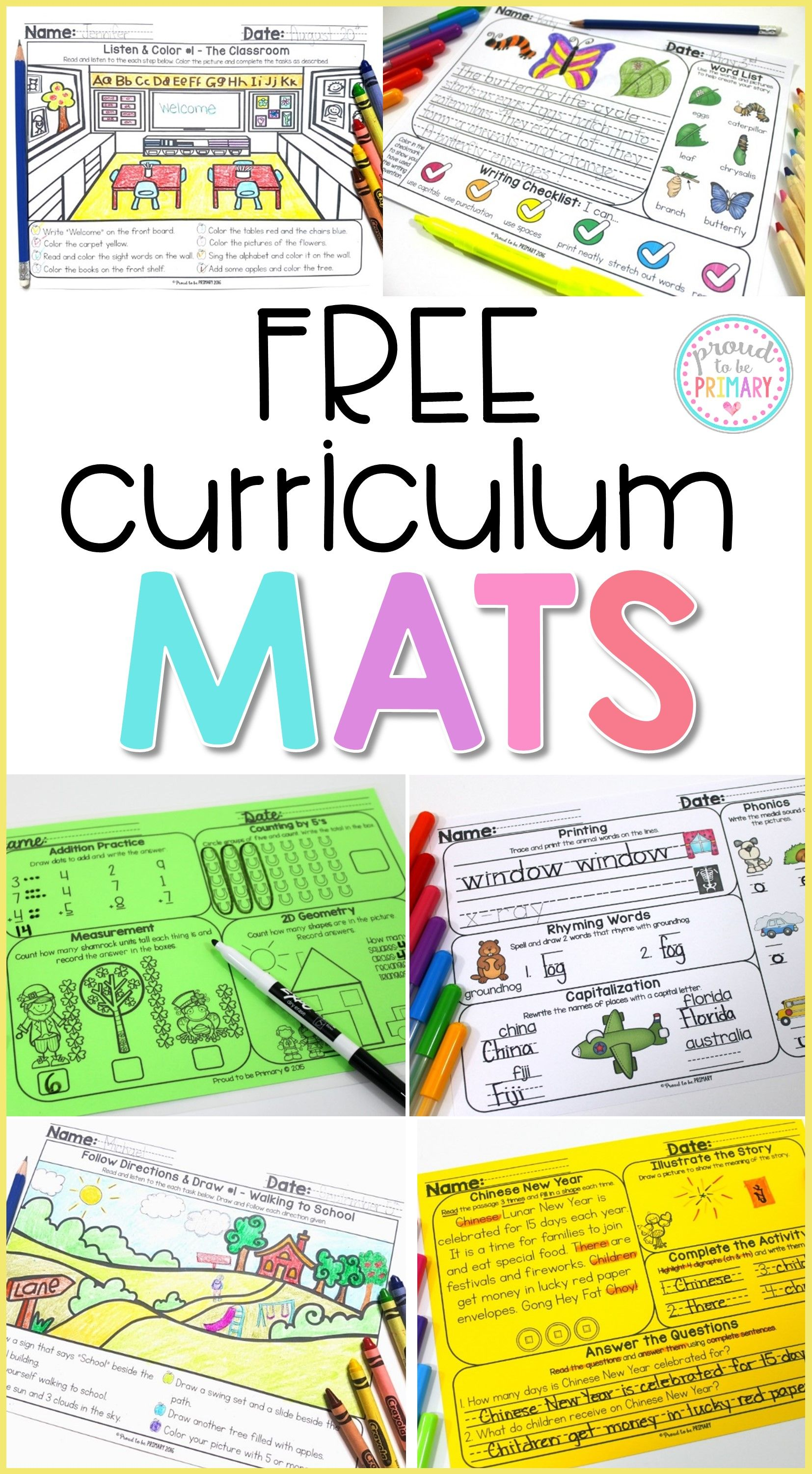 Grab the FREE curriculum mats teaching resource to practice and ...
