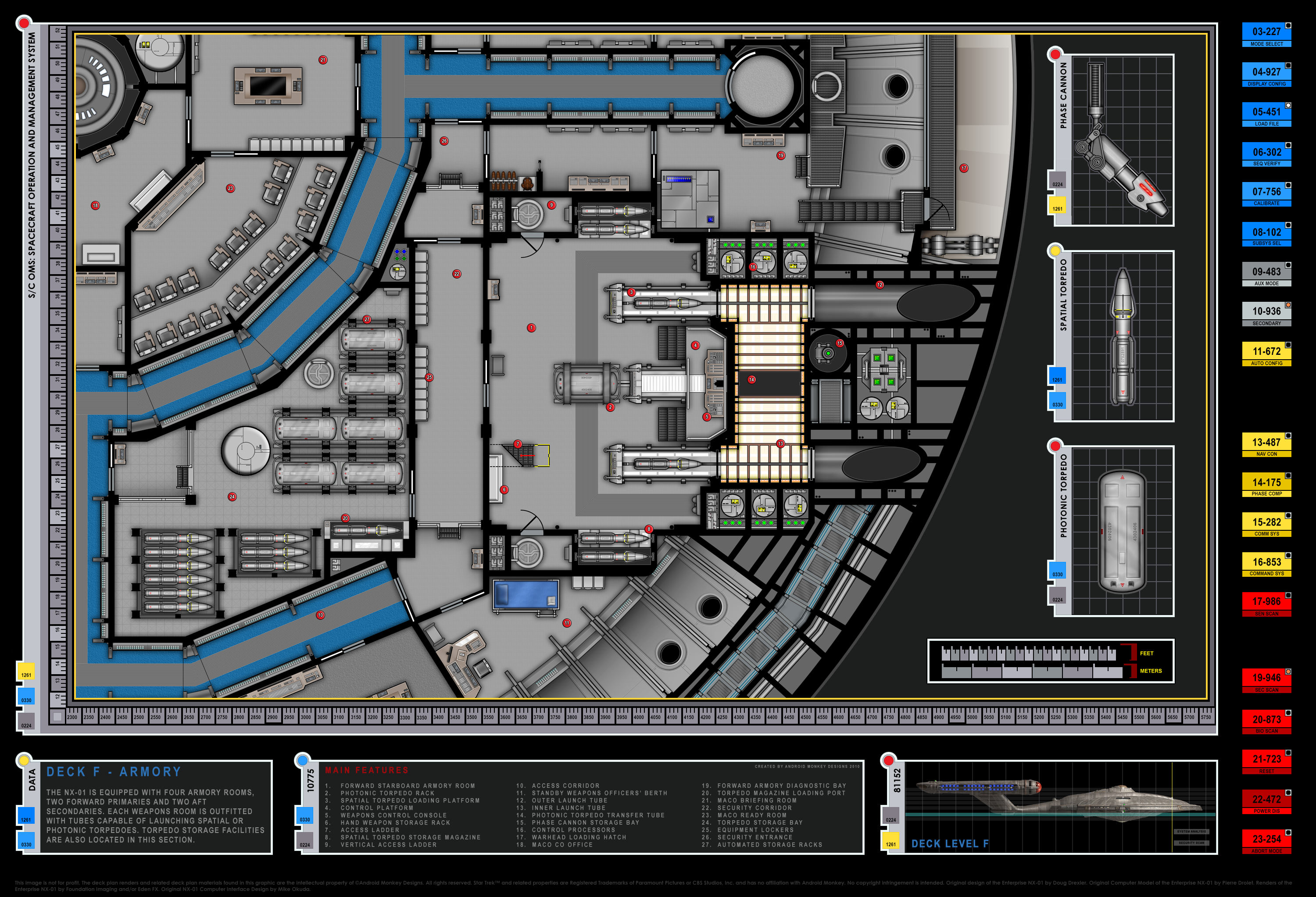 Perfect Colored Schematics Of The Armory Section; Columbia Class Starship; U.S.S.  Enterprise NX 01