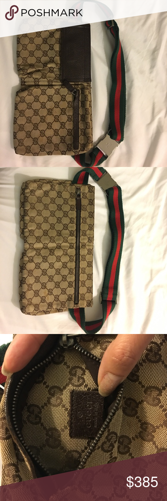 593ee1ecc2f6 GUCCI Authentic Waist PouchBelt Fanny Pack Vintage Pre owned GUCCI Sherry  Webbing Waist Pouch Bumbag Belt