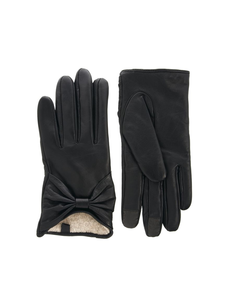 Black leather gloves meaning - Black Leather Bow Gloves With Touch Screen Fingers