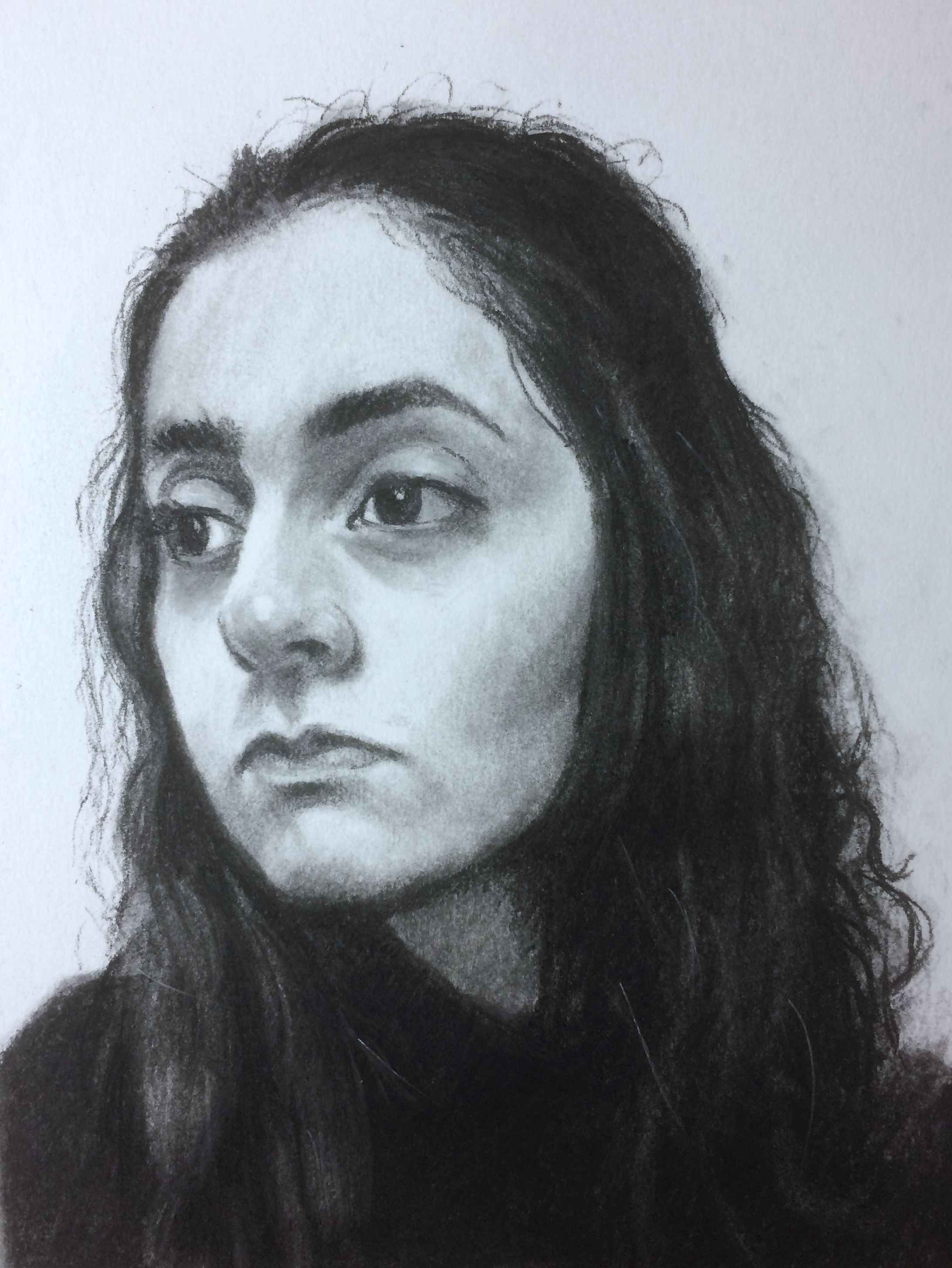 Portrait of meral charcoal on paper