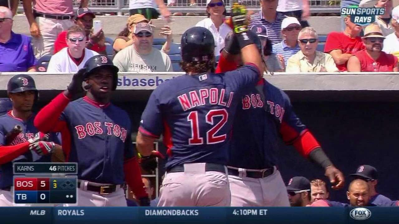 Napoli's two-run homer 0:55 3/28/15: Mike Napoli wraps one around the right-field foul pole for a two-run homer to put the Red Sox up, 5-0