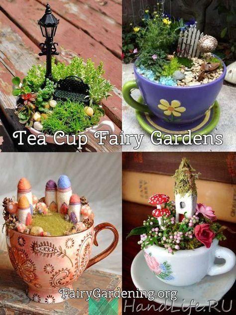 Домики в чашке / Все для кукол | Миниатюрный сад, Чашка ...