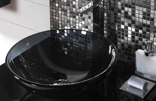 Black And Silver Tiles Disco Bathroom