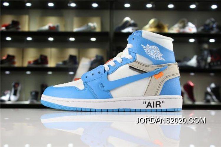 Off White X Air Jordan 1 Unc White Dark Powder Blue Cone Aq0818