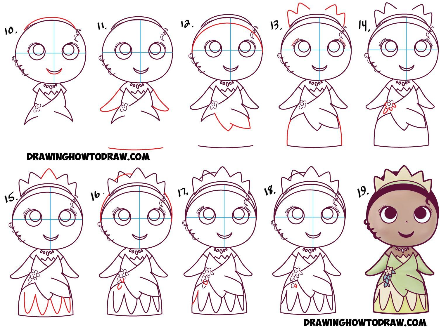 Learn How To Draw Cute Baby Chibi Kawaii Tiana The Disney Princess Simple Steps Drawing Lesson Disney Princess Drawings Easy Disney Drawings Princess Drawings