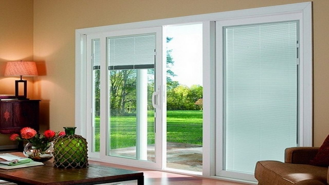 Sliding glass door with blinds inside glass glass doors