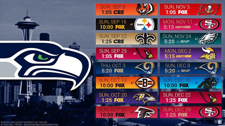 Seattle Seahawks 2019 Desktop PC City NFL Schedule