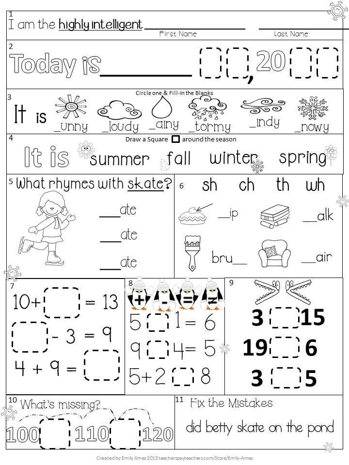Morning Work First Grade January Packet Winter Differentiated – Weather Worksheets for First Grade