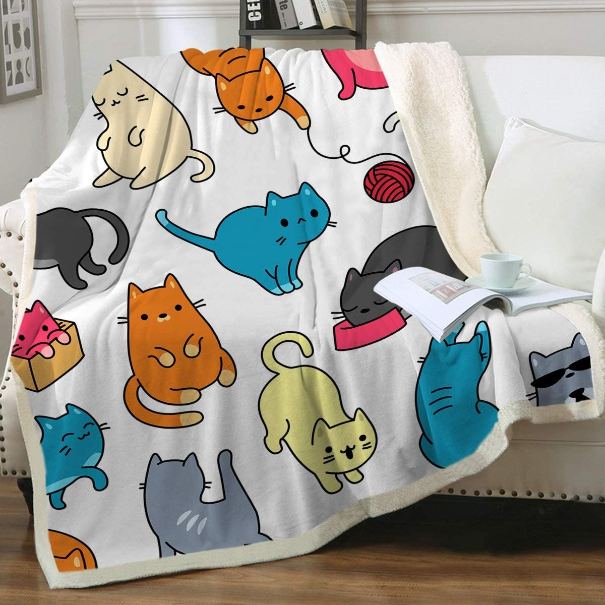 Cat Fleece Throw Blanket As Gifts For Cat Lovers Fleece Throw Blanket Customized Blankets Teacup Cats