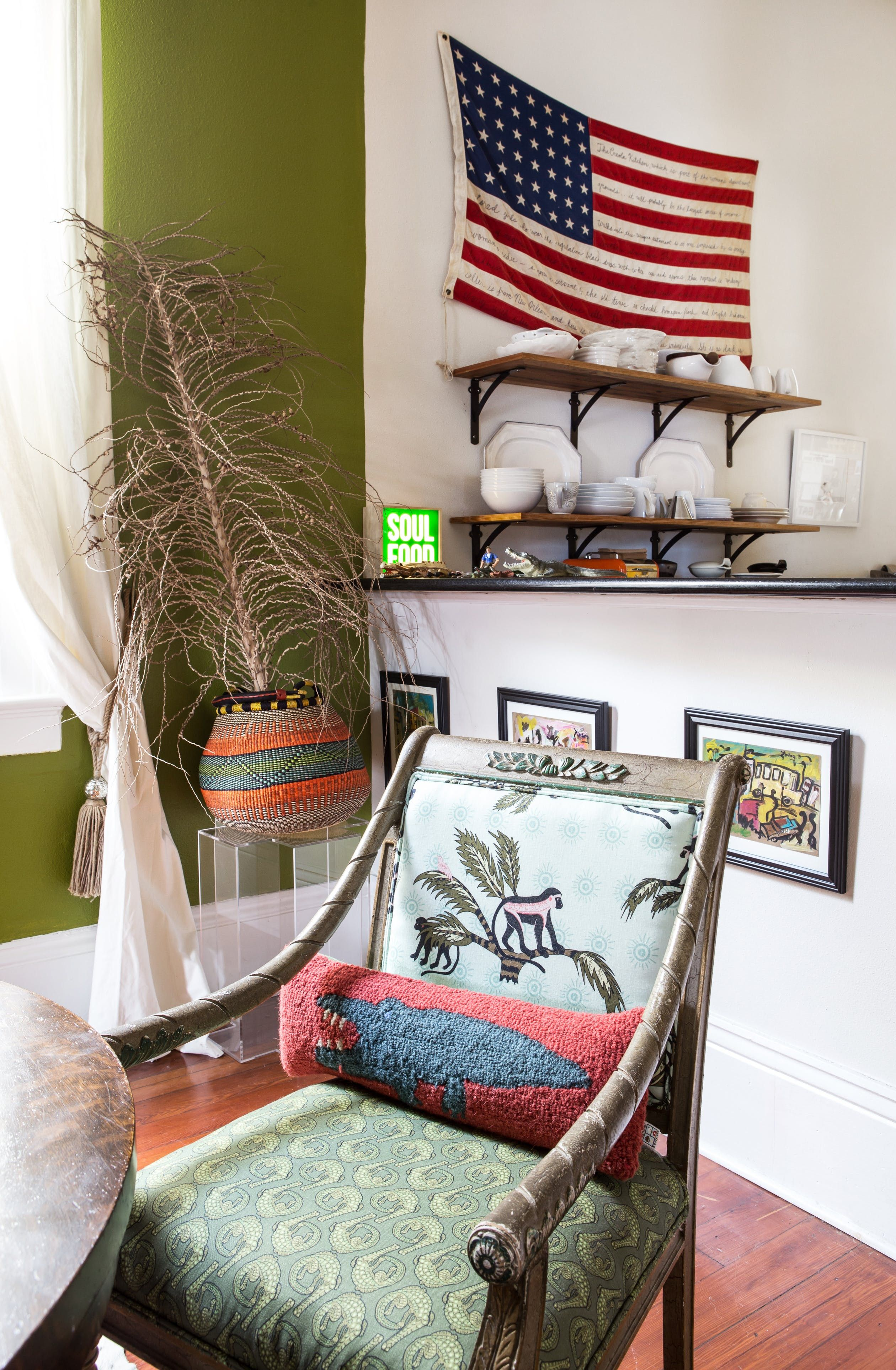 Carla Added Interest To This Vintage Chair By Mixing Two Textiles For The Upholstery Seen In Background Is One Of American Flags Inscribed