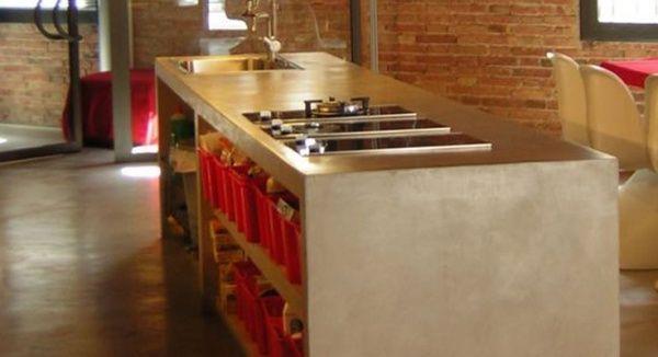 Cemento alisado en la cocina cocinas Pinterest Cemento alisado - paredes de cemento