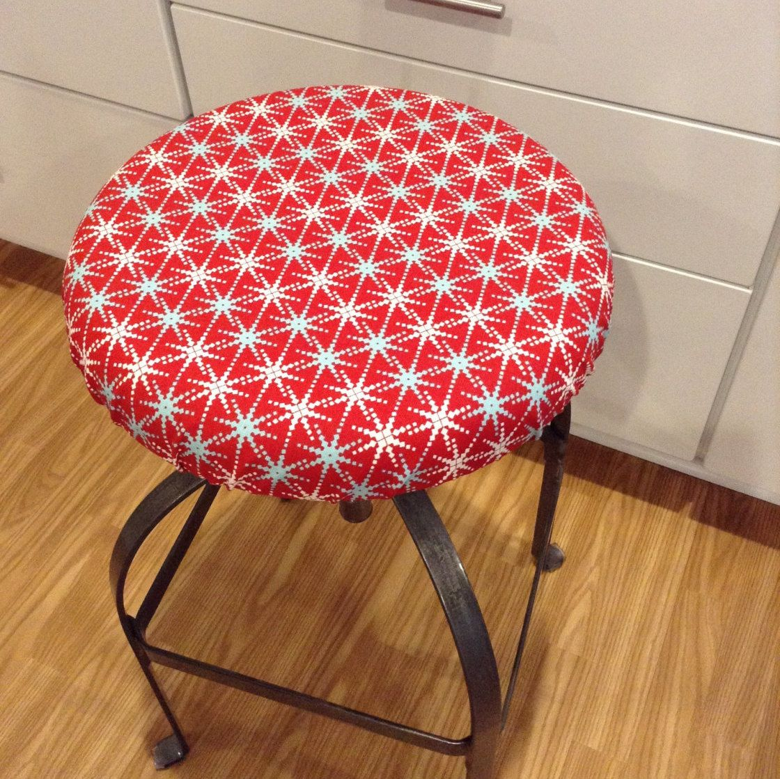 Holiday Print Elasticized Round Barstool Cover Counter Stool Cover Washable Cotton Fabric Kitchen Stool Pad Cover Bar Stools Stool Covers Bar Stool Covers