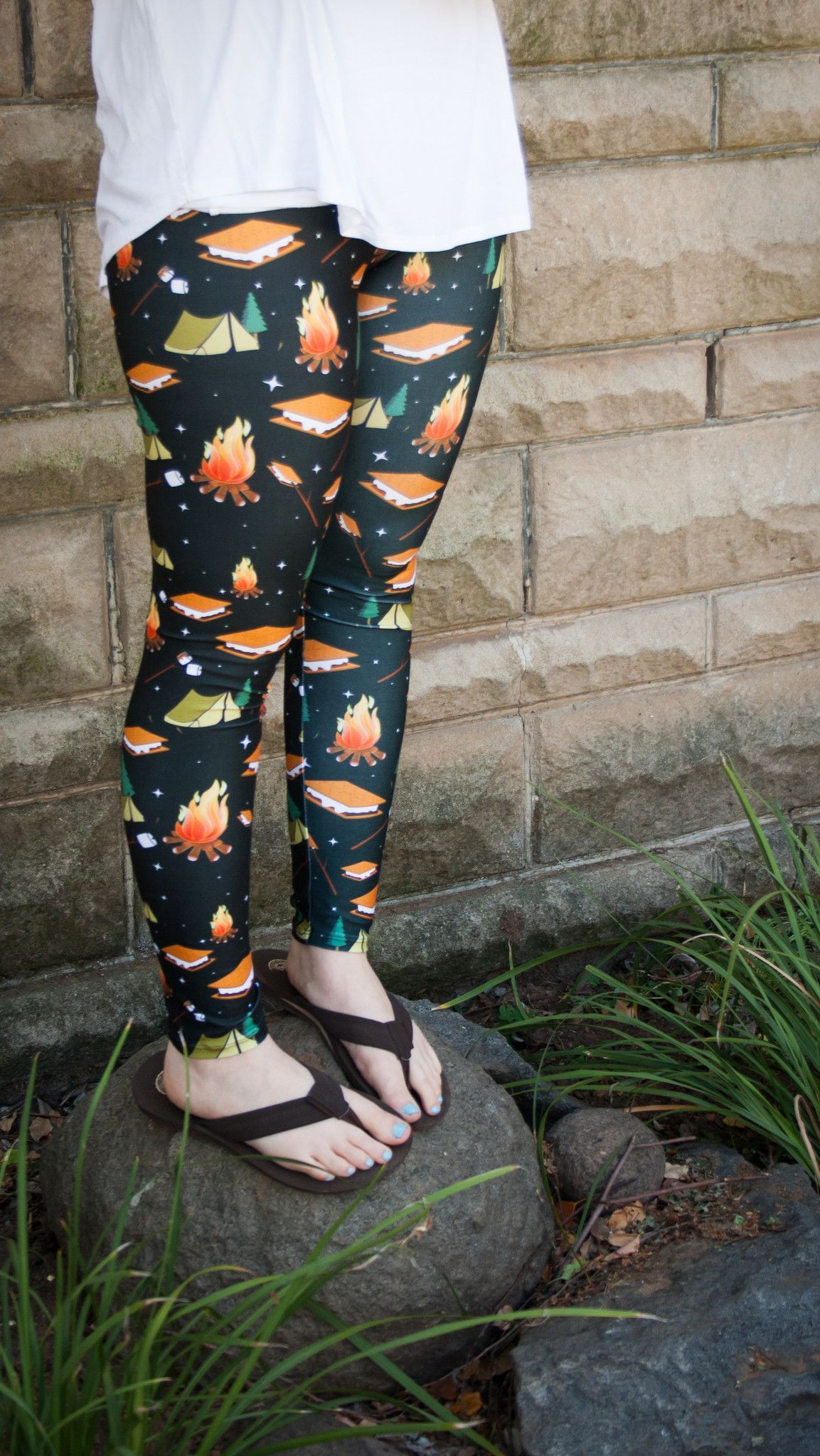 b11ce1c316c87 S'mores Around the Campfire printed camping leggings (with secret pocket!)