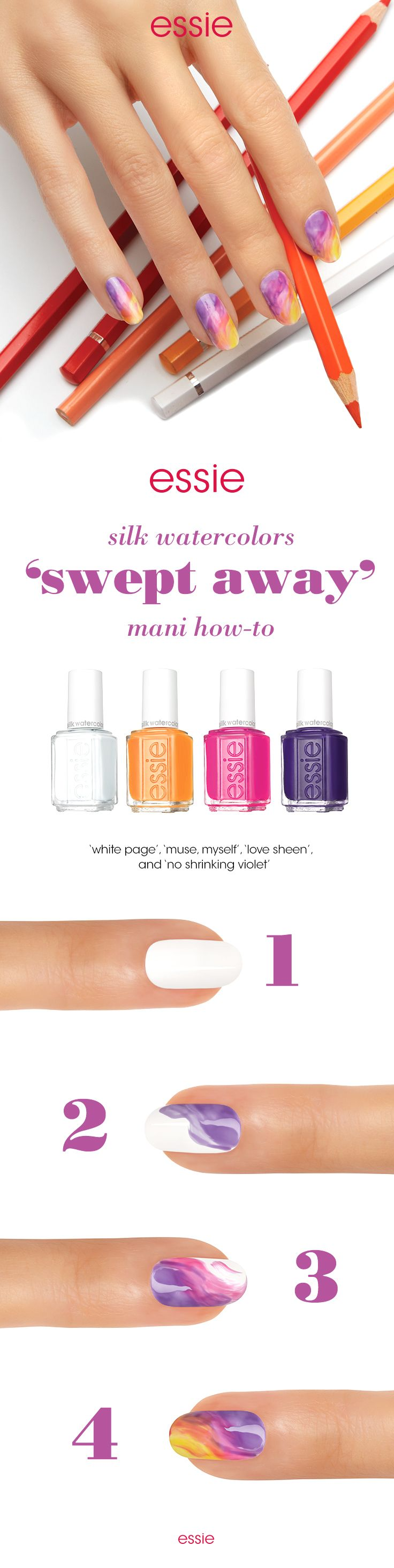 Be \'swept away\' with this fun nail art look using essie silk ...