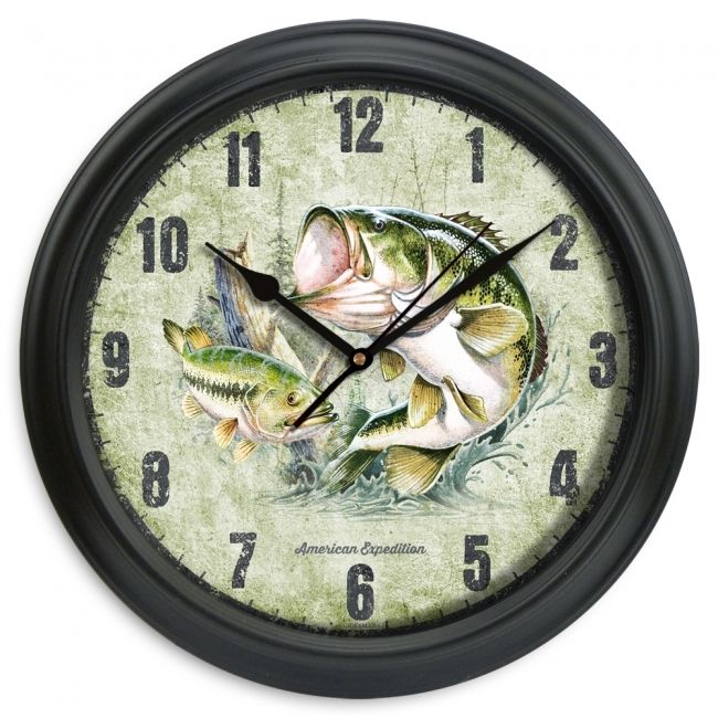 "11.5"" Largemouth Bass Wall Clock - American Expedition"