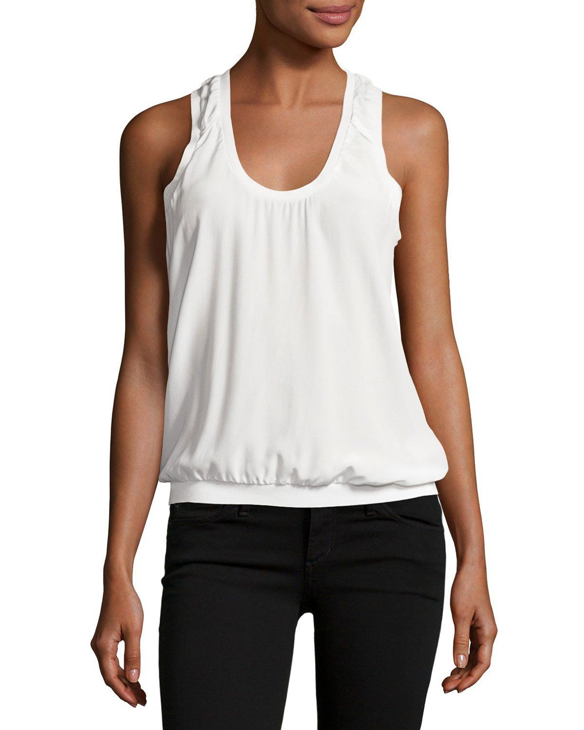 Mal Silk Tank Top, White