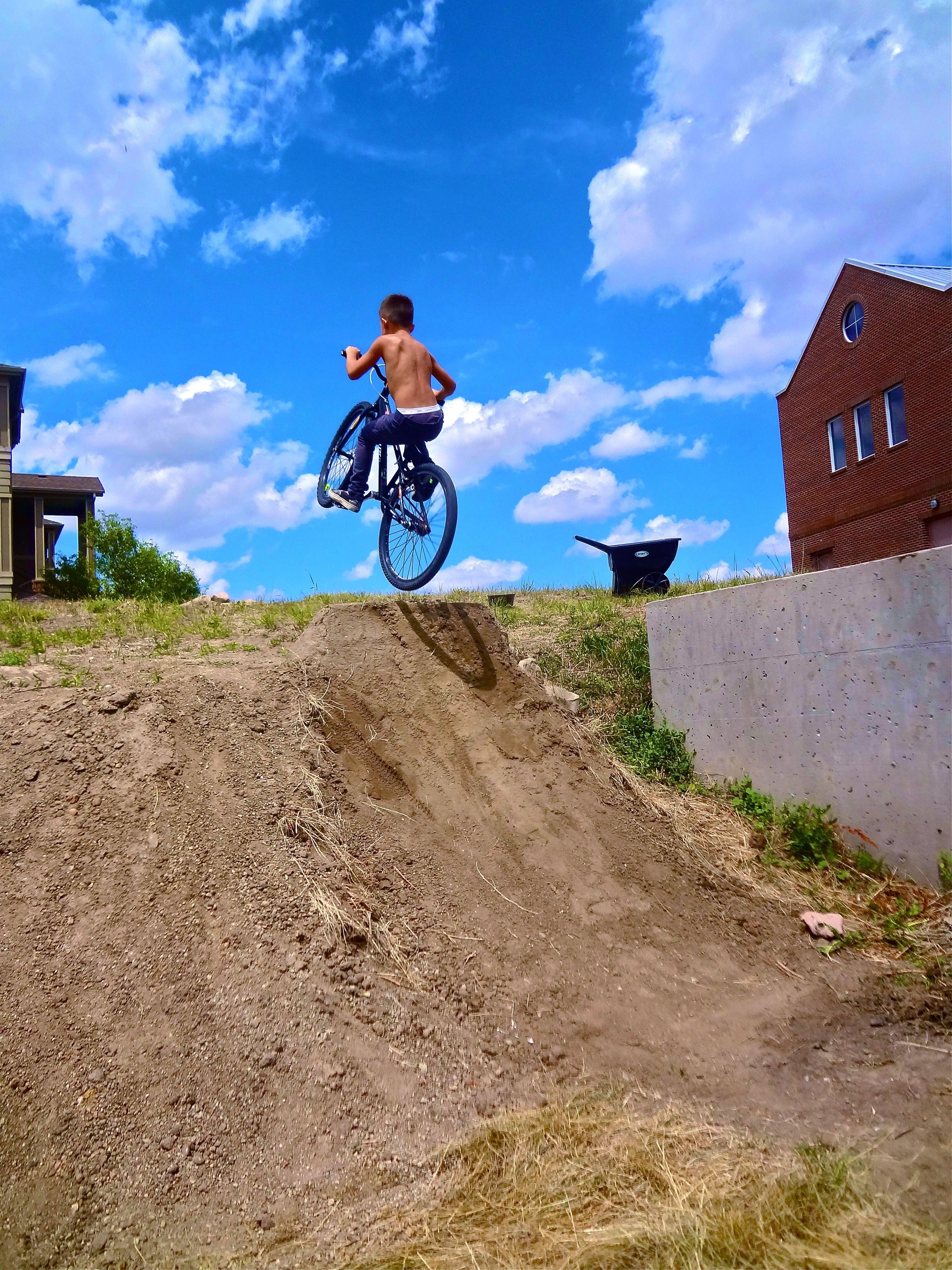Dirt Jump Step Up Next To The House Shovel Wheel Barrel Dirt