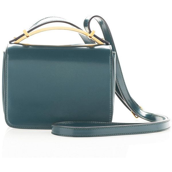 Marni Mini Sculpture Shoulder Bag in Forest Green ($1,150) ❤ liked on Polyvore featuring bags, handbags, shoulder bags, leather shoulder handbags, blue leather shoulder bag, genuine leather shoulder bag, green shoulder bag and genuine leather handbags