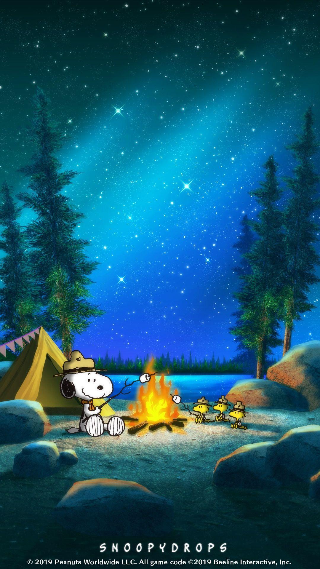 Snoopy 夜のキャンプ スヌーピーの壁紙 Xperia 壁紙 秋 壁紙