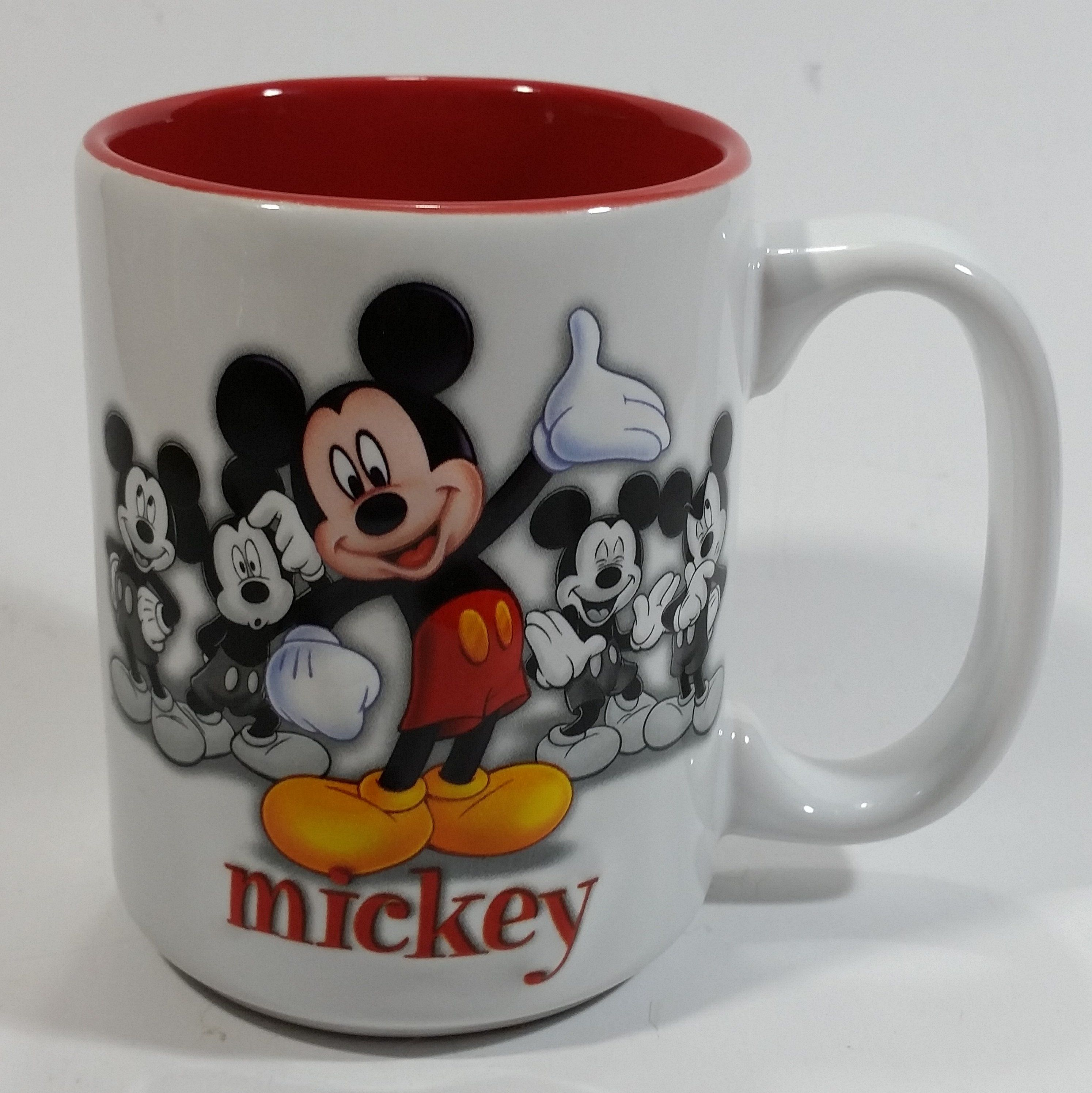 Authentic Original Disney Parks Walt Disney World Mickey Mouse 3D White and Red Ceramic Coffee ...