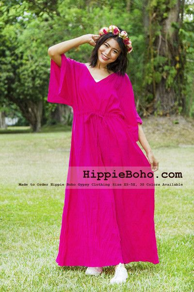 73a24680559 No.329 - Size XS-5X Hippie Boho Caftan Hot Pink Wide Sleeves Maxi Dresses  Women s Plus Size Clothing Bohemian Long Dress