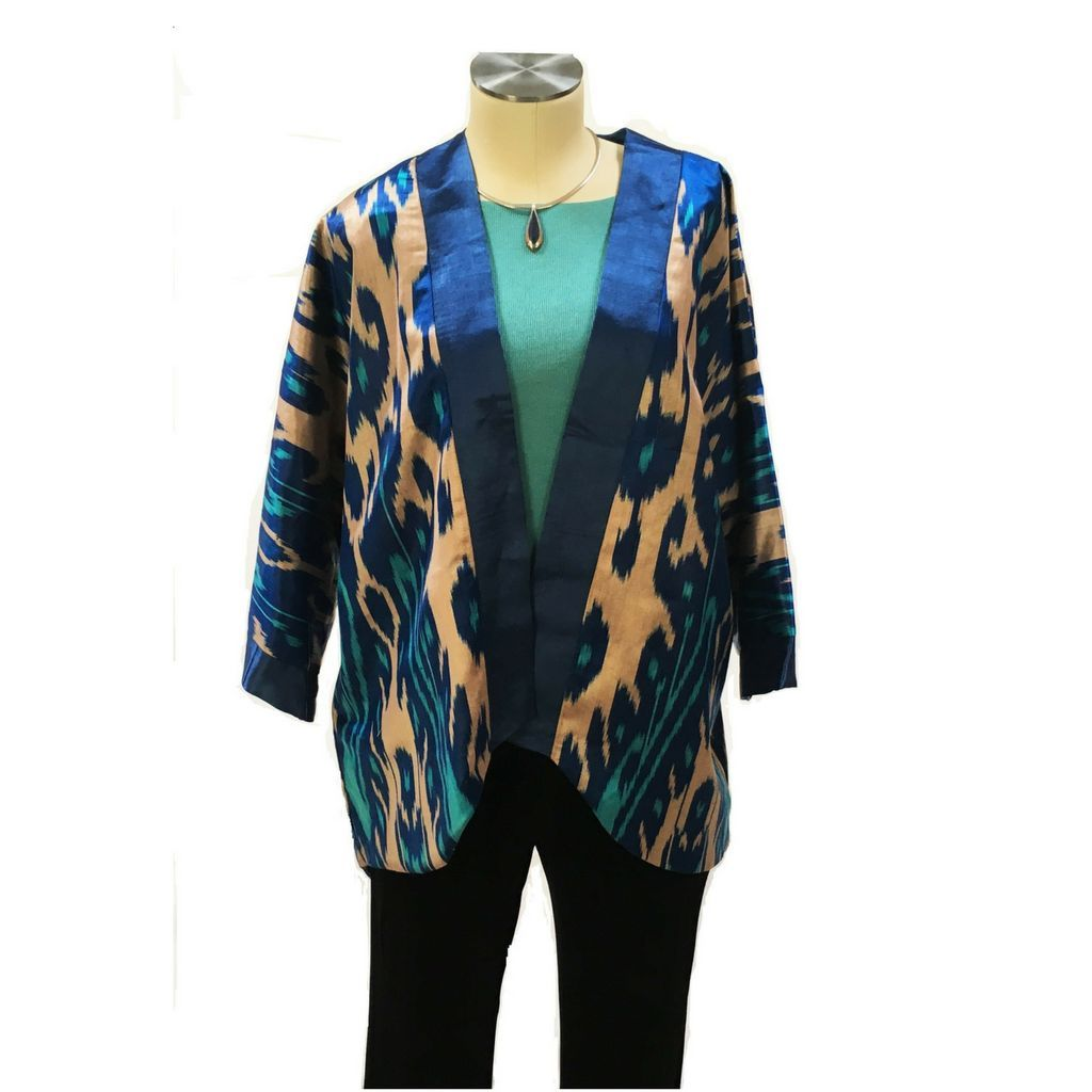 Ikat Kimono Jacket, Silk-Blue, Turquoise & Gold