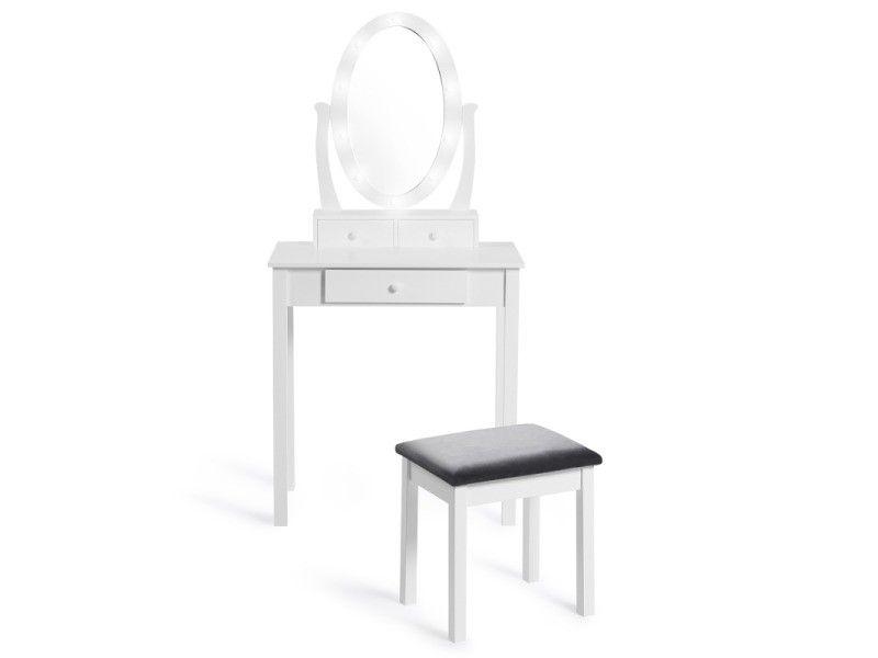 Coiffeuse Bella Avec Miroir Led Et Tabouret Vente De Id Market Conforama En 2020 Miroir Led Miroir Coiffeuse Coiffeuse