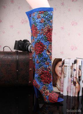 Luxusné kožené denim čižmy kvetované  1cb8a9a46b0